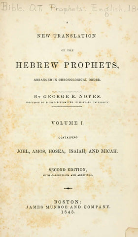 A New Translation Of The Hebrew Prophets