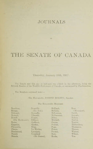 Journals Of The Senate Of Canada Volume 53