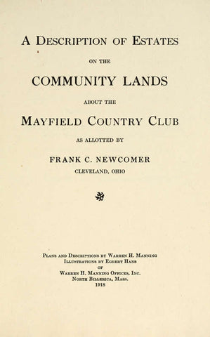 A Description Of Estates On The Community Lands About The Mayfield Country Club - Repressed Publishing - 1