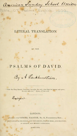Literal Translation Of The Psalms Of David