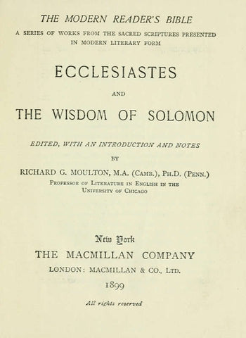 Ecclesiastes And The Wisdom Of Solomon