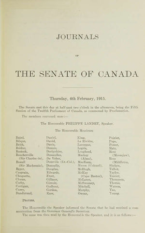 Journals Of The Senate Of Canada Volume 51