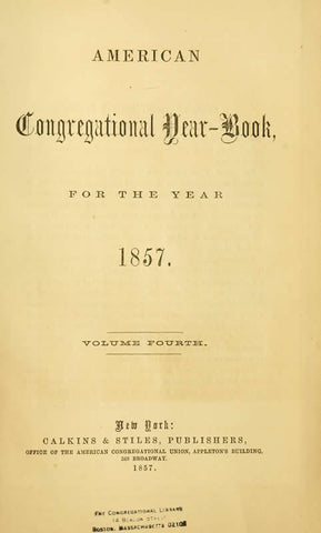 American Congregational Year-Book For The Year 1857