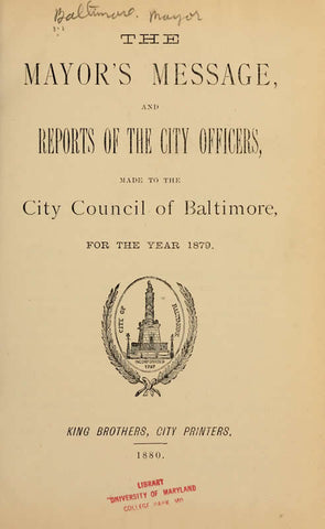 Mayor's Message And Reports Of The City Officers