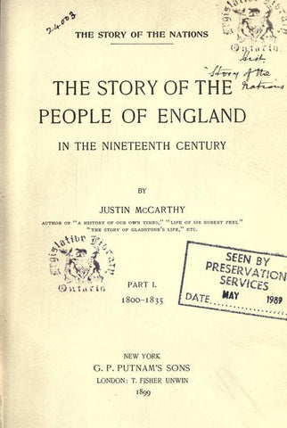 The Story Of The People Of England, In The Nineteenth Century