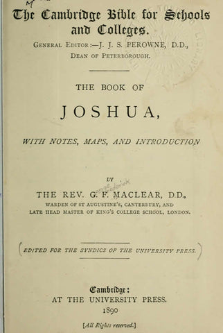 The Book Of Joshua: With Notes, Maps, And Introduction