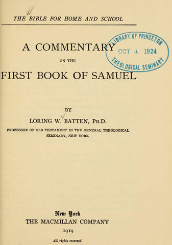 A Commentary On The First Book Of Samuel - Repressed Publishing - 1