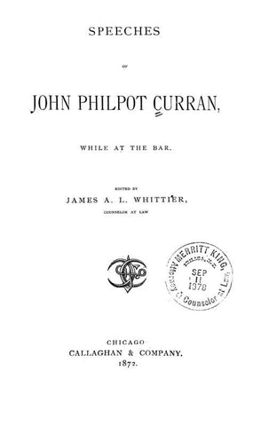 Speeches Of John Philpot Curran: While At The Bar