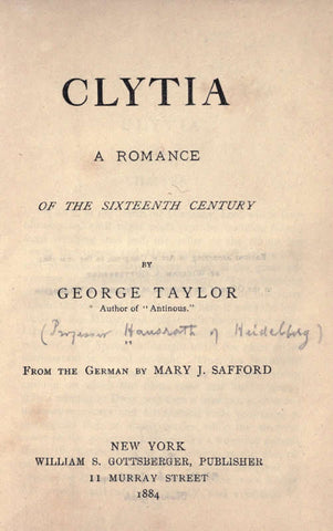 Clytia; A Romance Of The Sixteenth Century