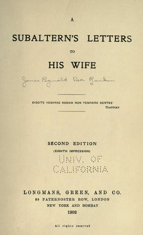 A Subaltern's Letters To His Wife