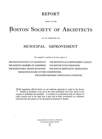 Report Made To The Boston Society Of Architects