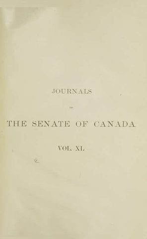 Journals Of The Senate Of Canada Volume 40