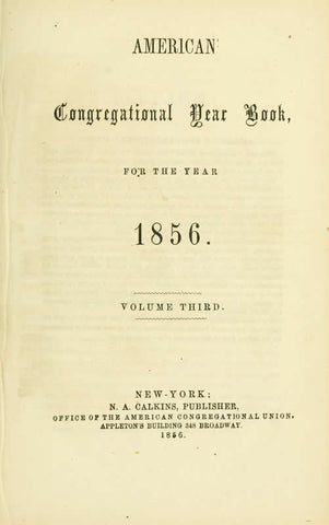 American Congregational Year Book For The Year 1856