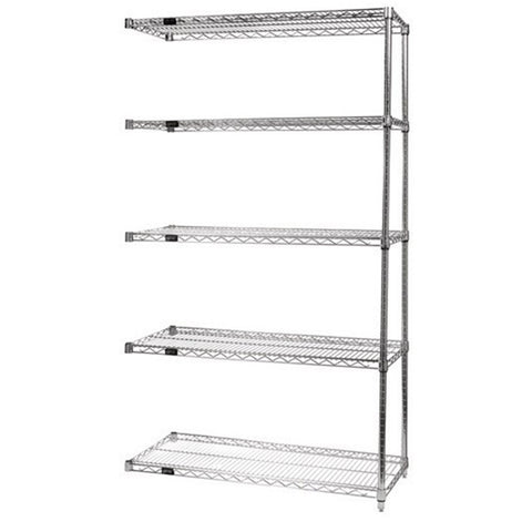 "63""H Chrome 5 Shelf Wire Shelving Add-on Kit - Shelving Smart"