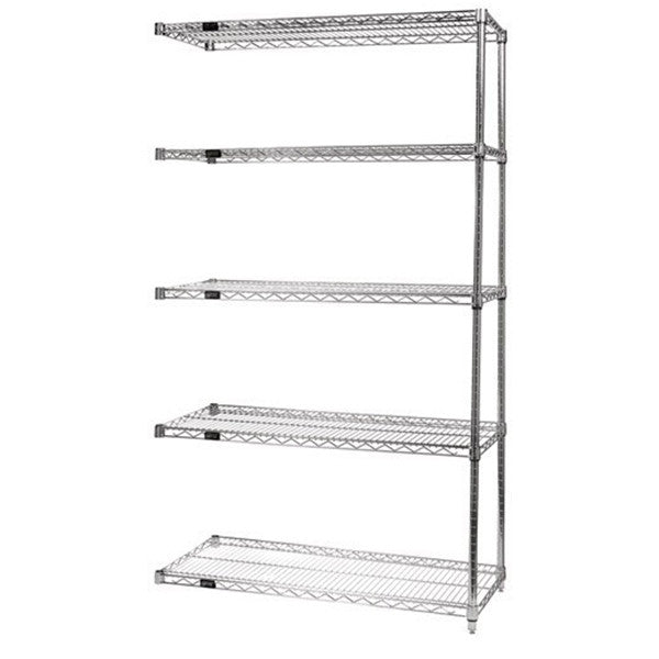 "74""H Stainless Steel 5 Shelf Wire Shelving Add-on Kit - Shelving Smart"