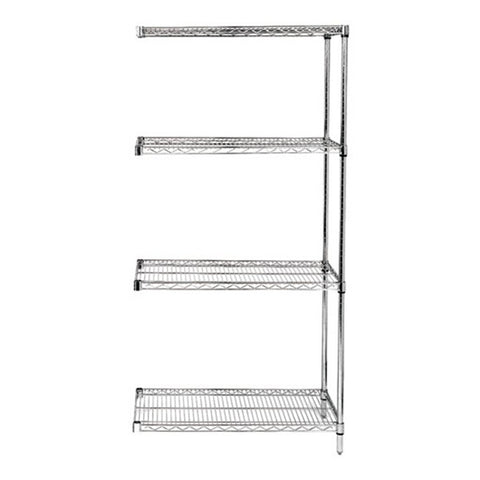 "63""H Stainless Steel 4 Shelf Wire Shelving Add-on Kit - Shelving Smart - 1"
