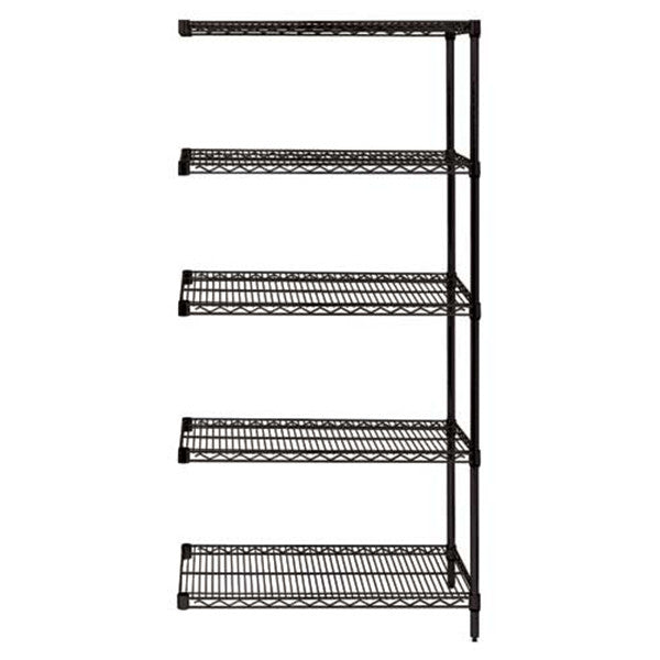 "63""H Black 5 Shelf Wire Shelving Add-on Kit - Shelving Smart"