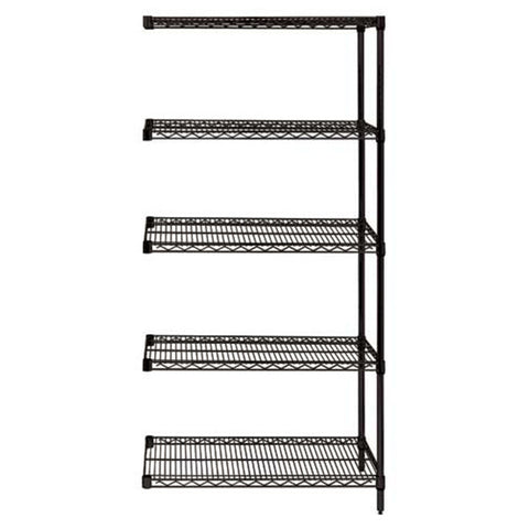 "74""H Black 5 Shelf Wire Shelving Add-on Kit - Shelving Smart"