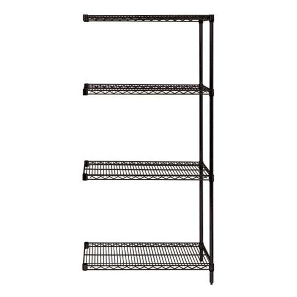 "86""H Black 4 Shelf Wire Shelving Add-on Kit - Shelving Smart"