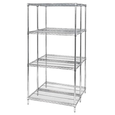 "63""H Chrome 4 Shelf Wire Shelving Starter Kit - Shelving Smart - 1"