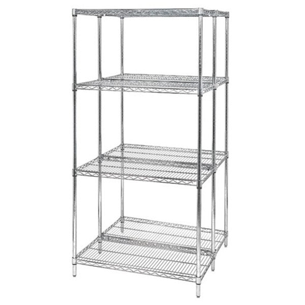 "54""H Chrome 4 Shelf Wire Shelving Starter Kit - Shelving Smart - 2"
