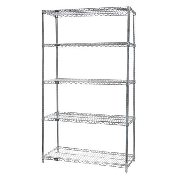 "74""H Stainless Steel 5 Shelf Wire Shelving Starter Kit - Shelving Smart"
