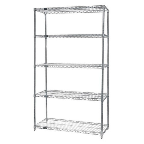 "63""H Chrome 5 Shelf Wire Shelving Starter Kit - Shelving Smart"