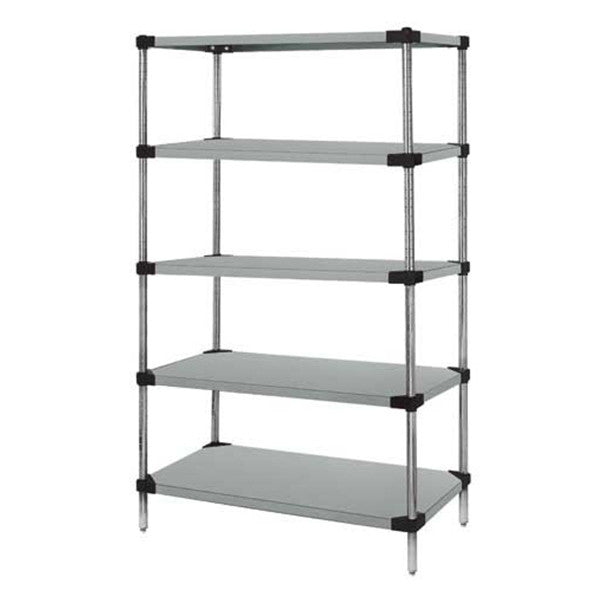 "63""H Stainless Steel 5 Solid Shelf Wire Shelving Starter Kit - Shelving Smart"