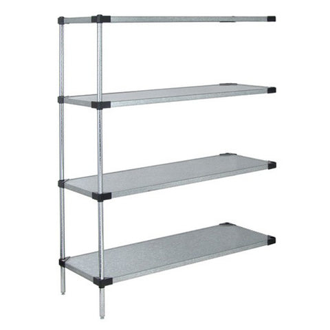 "74""H Stainless Steel 4 Solid Shelf Wire Shelving add-on Kit - Shelving Smart"