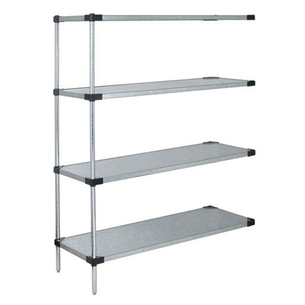 "86""H Stainless Steel 4 Solid Shelf WireShelving add-on Kit - Shelving Smart"