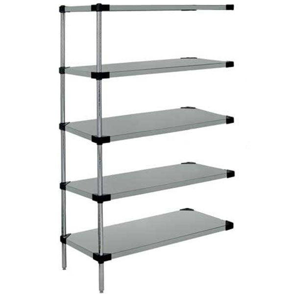 "74""H Stainless Steel 5 Solid Shelf Wire Shelving add-on Kit - Shelving Smart"