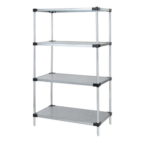"86""H Stainless Steel 4 Solid Shelf Wire Shelving Starter Kit - Shelving Smart"