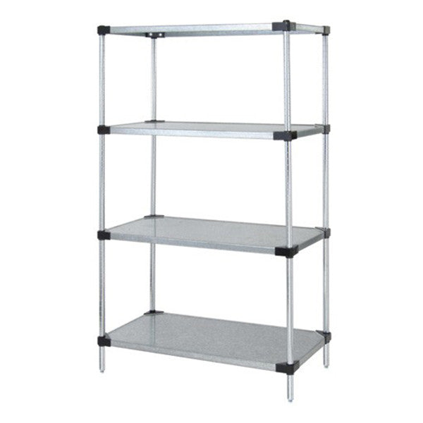 "74""H Stainless Steel 4 Solid Shelf Wire Shelving Starter Kit - Shelving Smart"