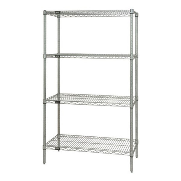 "63""H Stainless Steel 4 Shelf Wire Shelving Starter Kit - Shelving Smart"
