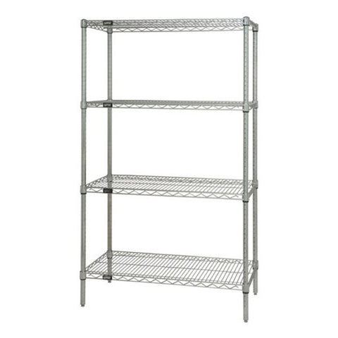 "86""H Stainless Steel 4 Shelf  Wire Shelving Starter Kit - Shelving Smart"