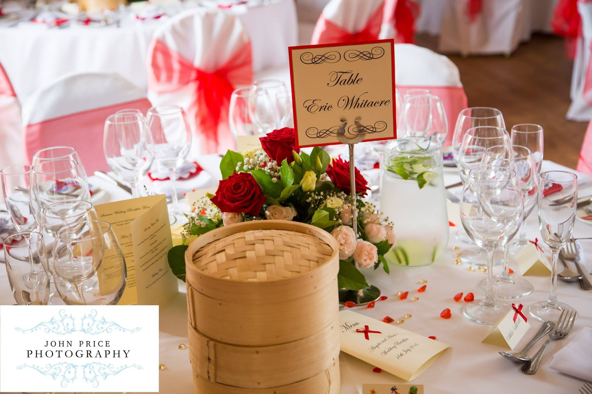 Red Rose wedding table decoration.