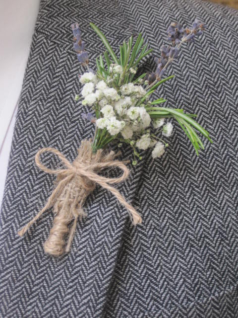 Gypsophilia button hole for country style vintage wedding.