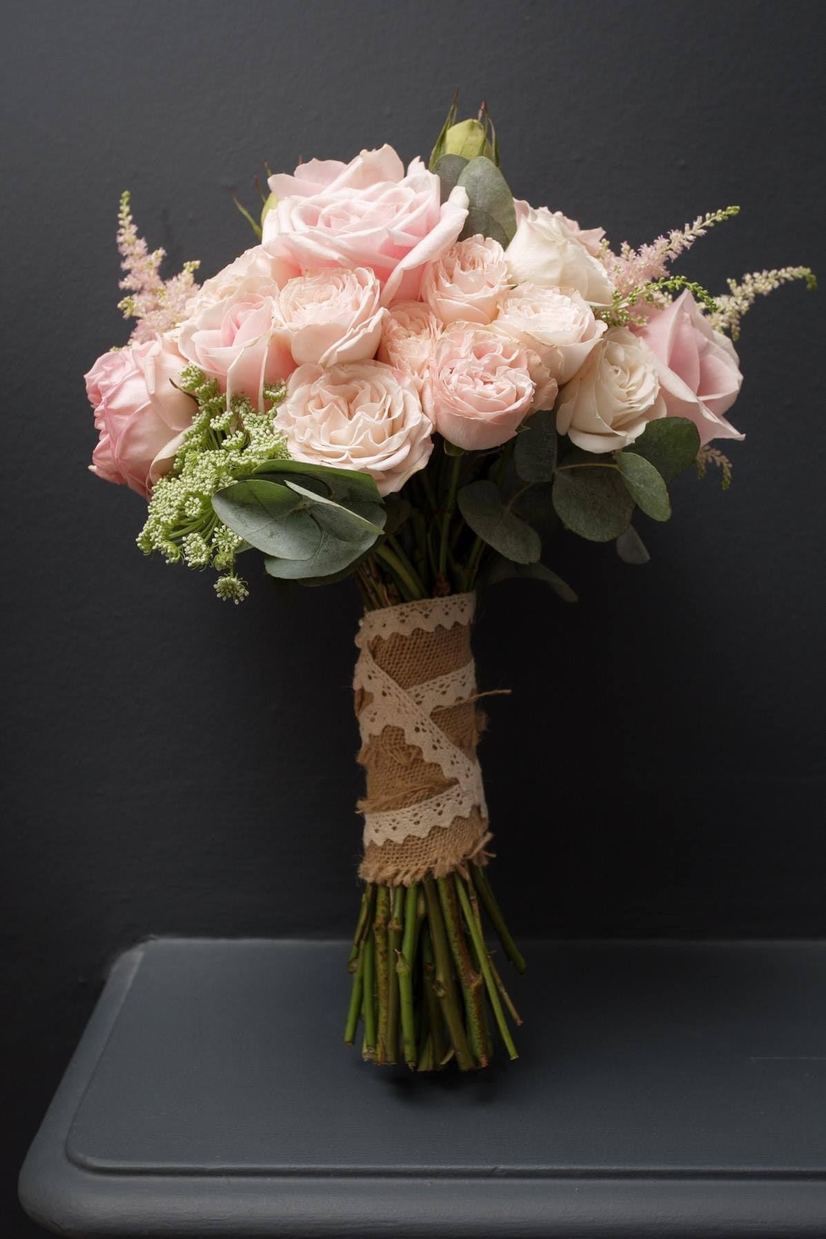 Classic bridal hand tied bouquet with pink Roses.