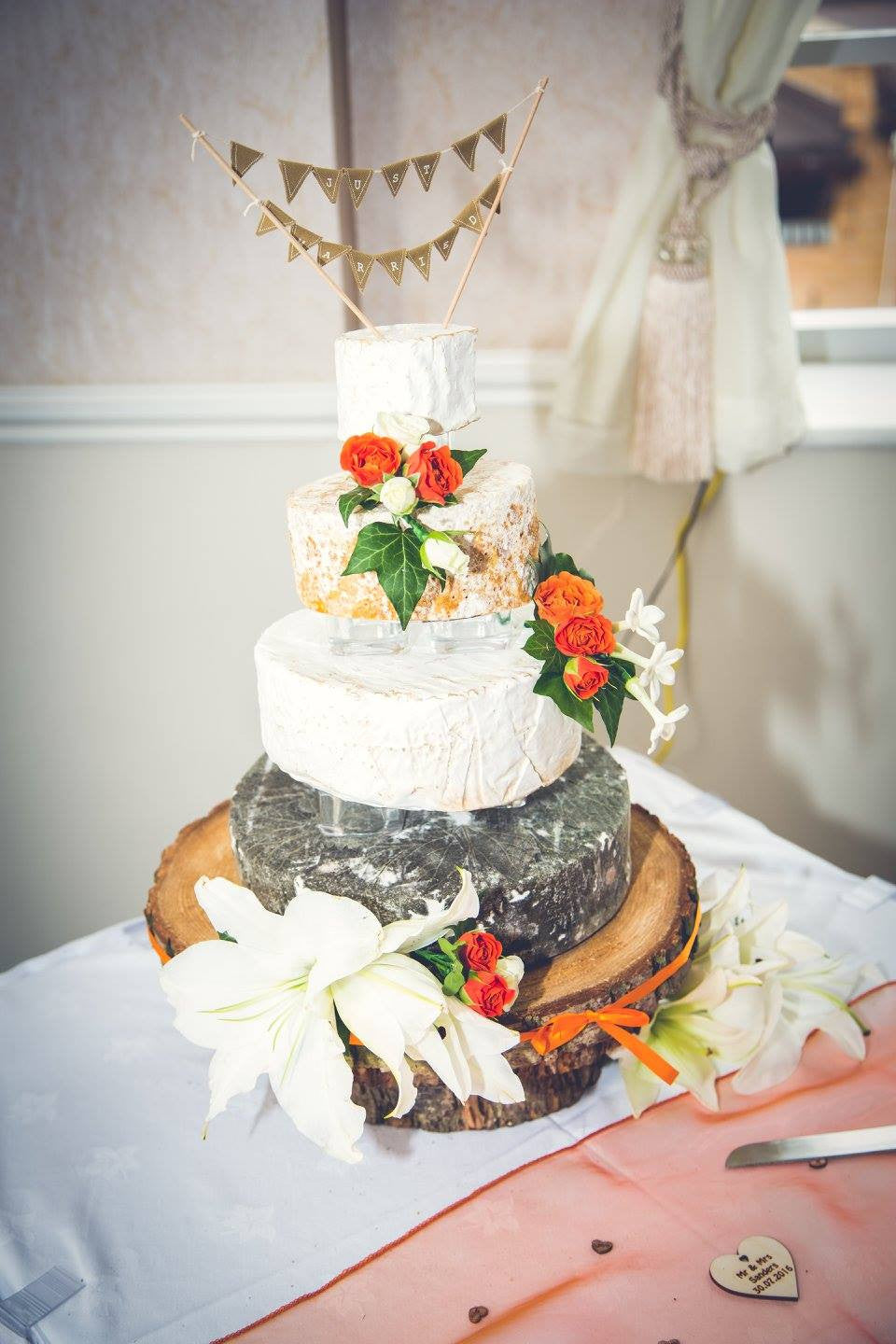 Wedding Cheese Cake with floral decoration.