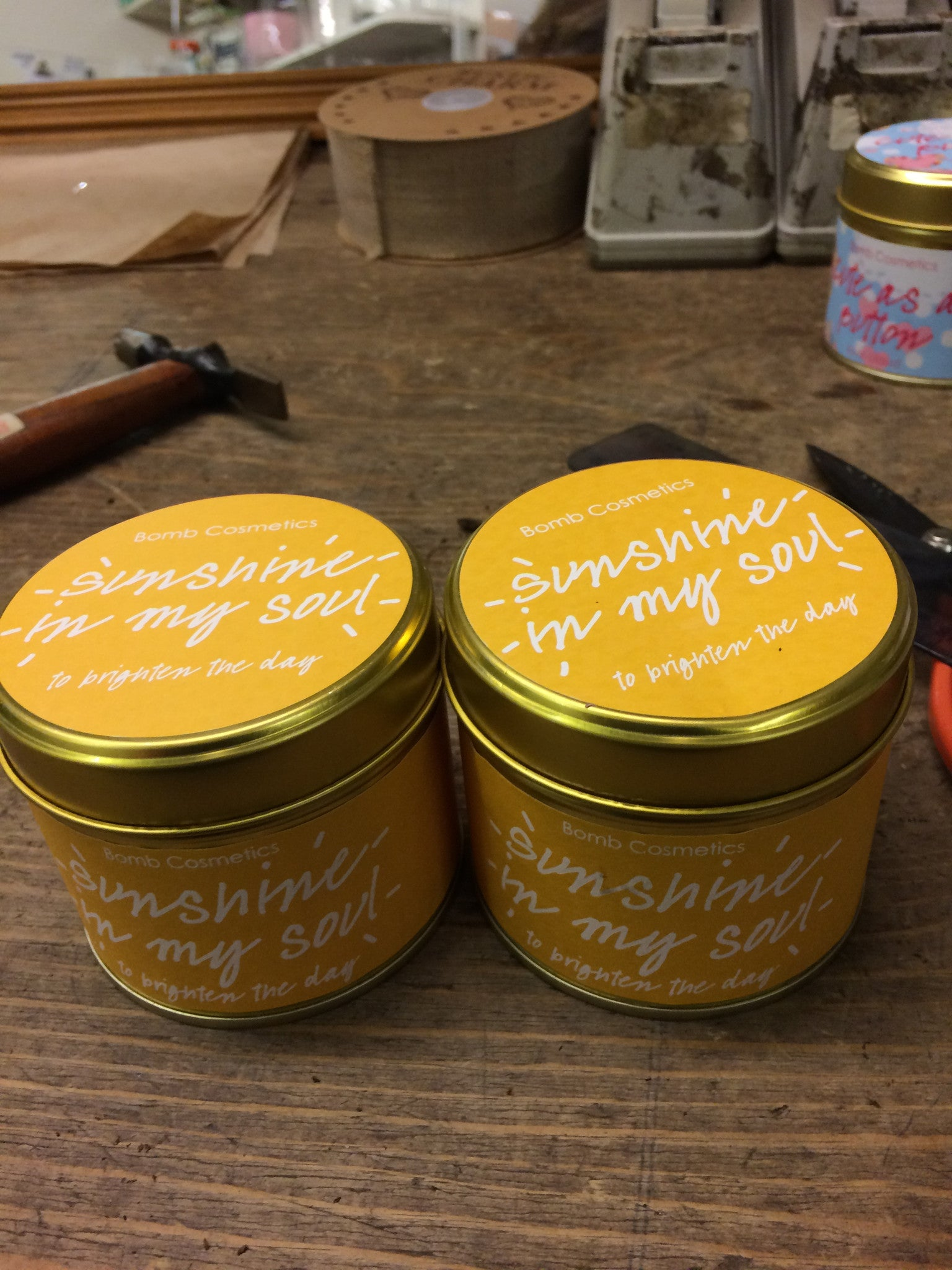 Sunshine in my Soul bomb cosmetics candles, part of our gifts collection.