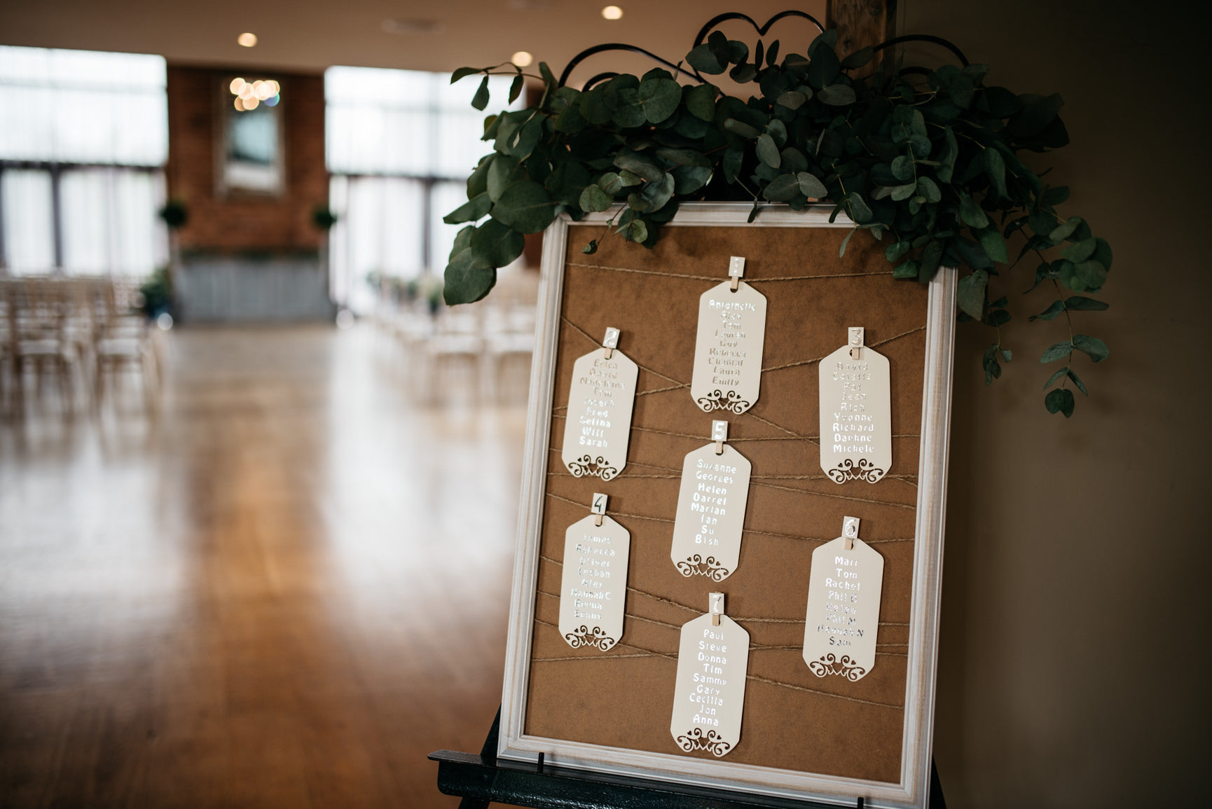 Foliage Seating Plan decoration Wedding at the Carriage Hall