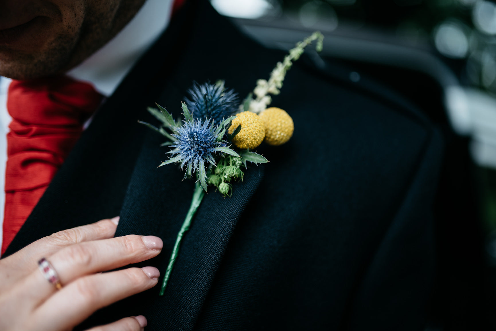 Grooms wedding buttonhole with Thistle
