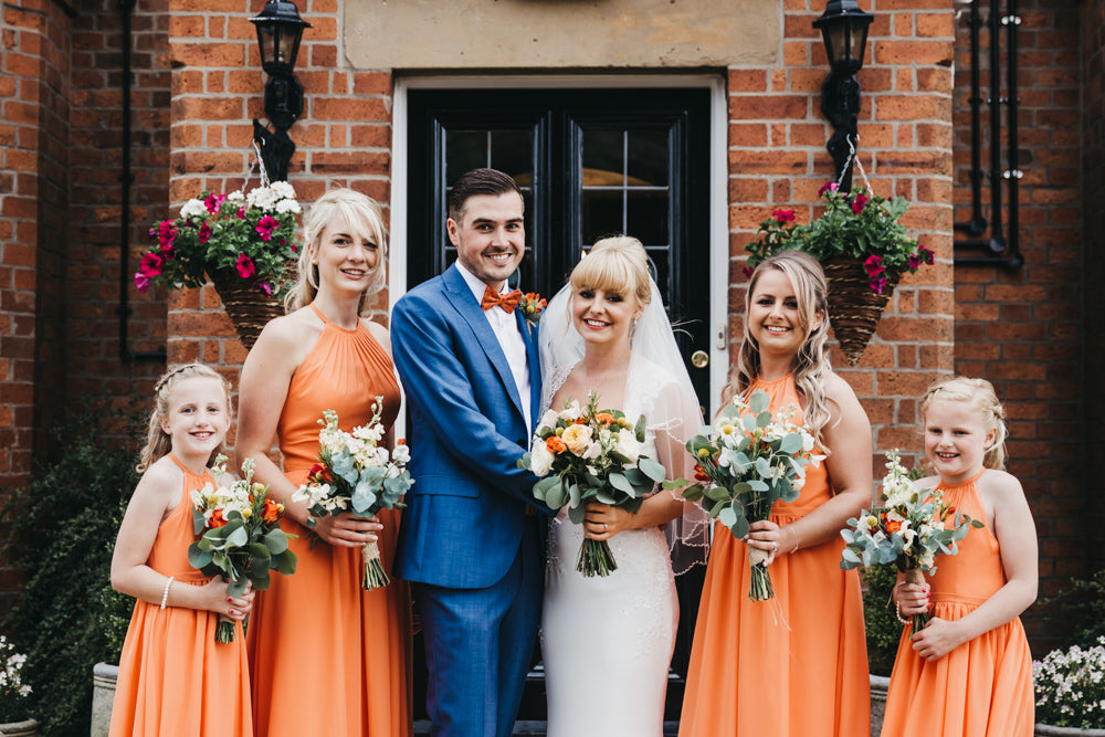 Bridal party with wedding flowers Nottingham