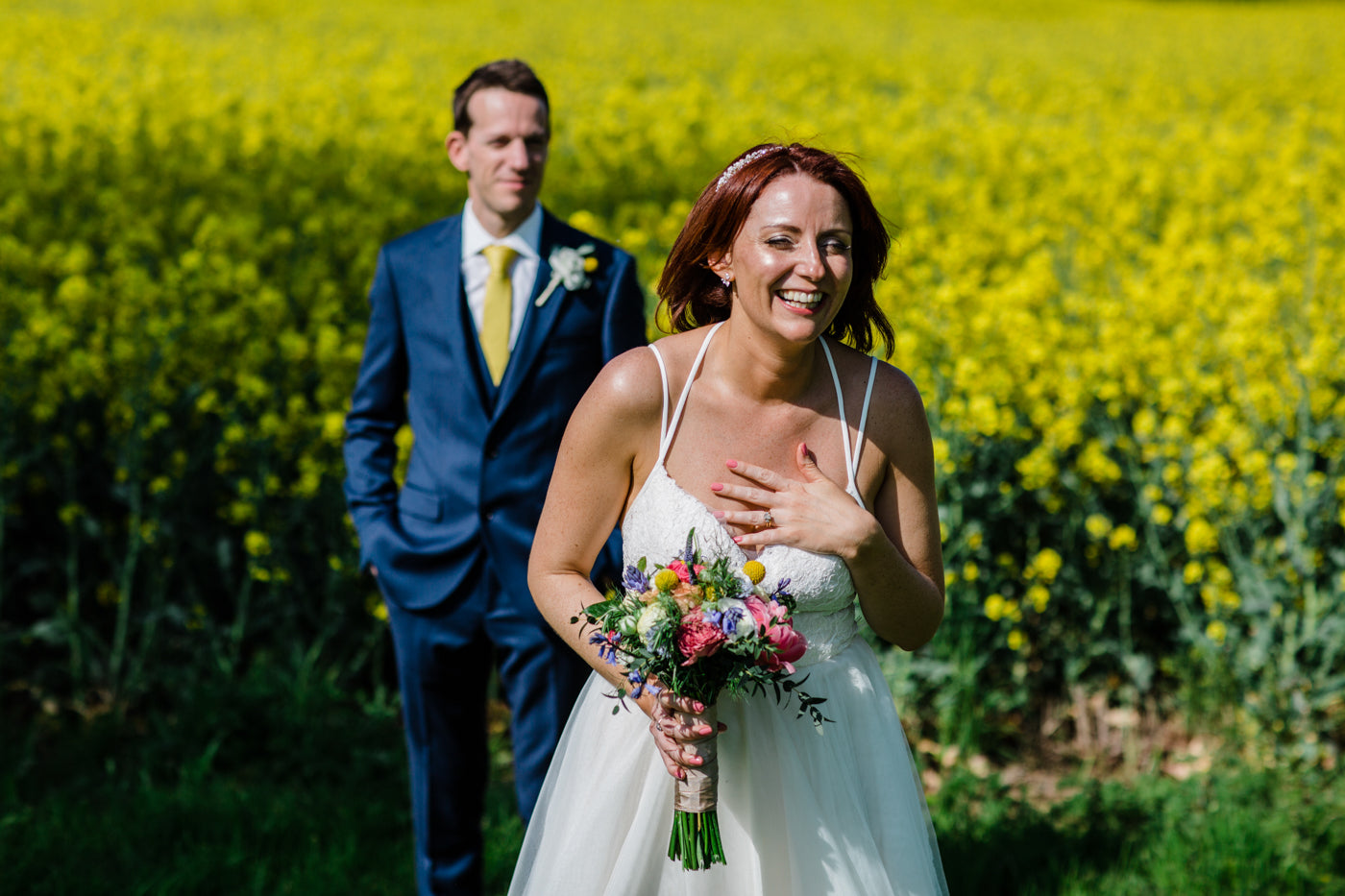 Bride and Groom Wedding Flowers Chequers Inn Belvoir