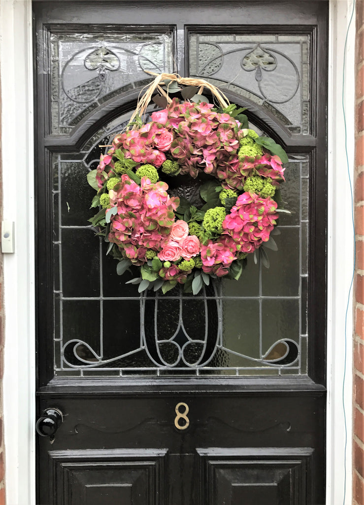 Door wreath with pink Roses and Hydrangeas,