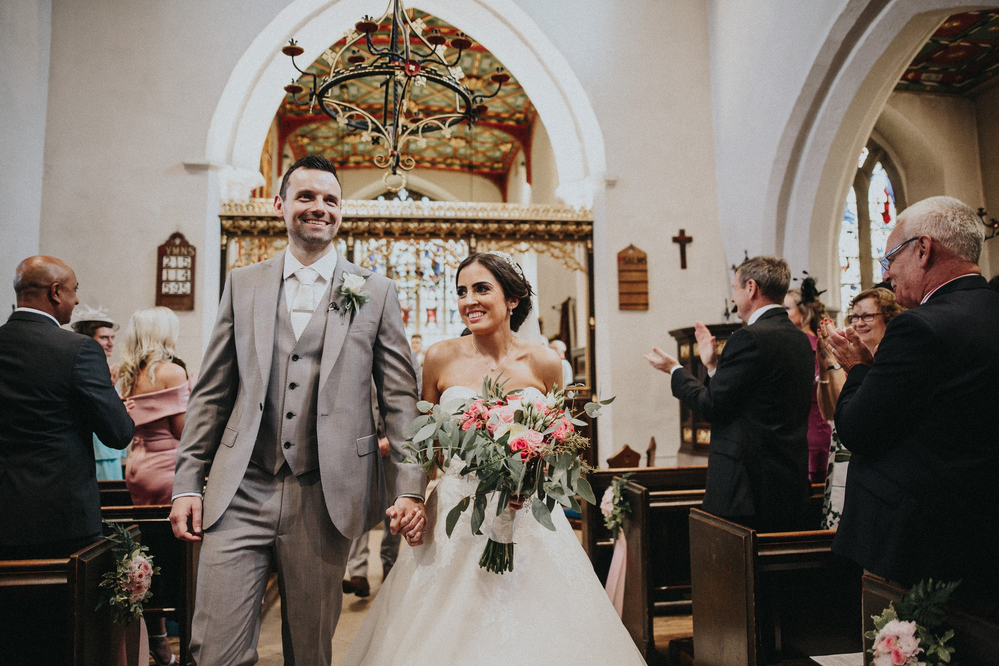 Lauren and Adam Nottingham Wedding Flowers Pink and White Swancar Farm