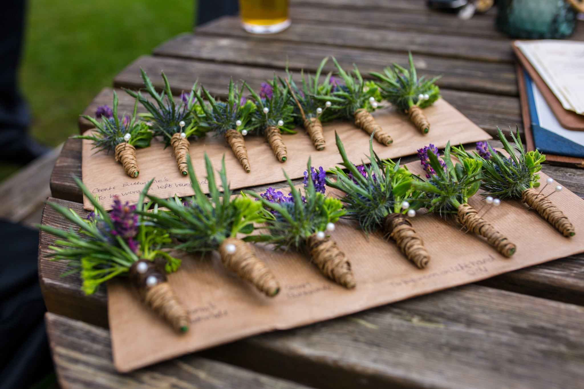 Country style wedding buttonholes nottingham