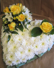 Blocked heart with coloured posy funeral flowers