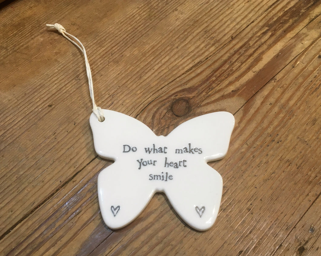 East of India porcelain hanging butterfly with inscription