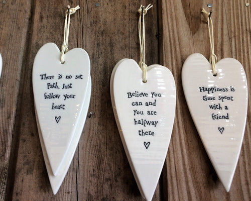 East of India Porcelain Hanging Heart with Inscription